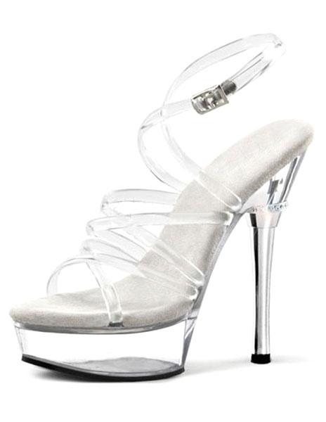 Milanoo Plataforma transparente sandalias correas PVC tacones para las mujeres