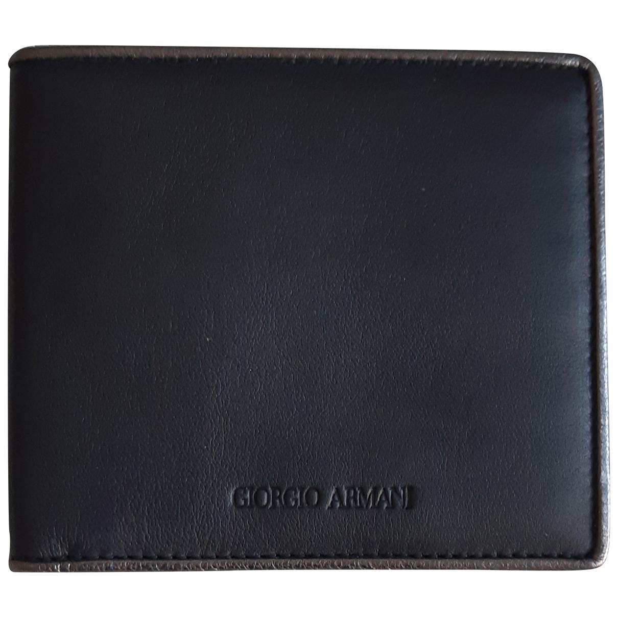 Giorgio Armani - Petite maroquinerie   pour homme en cuir - noir
