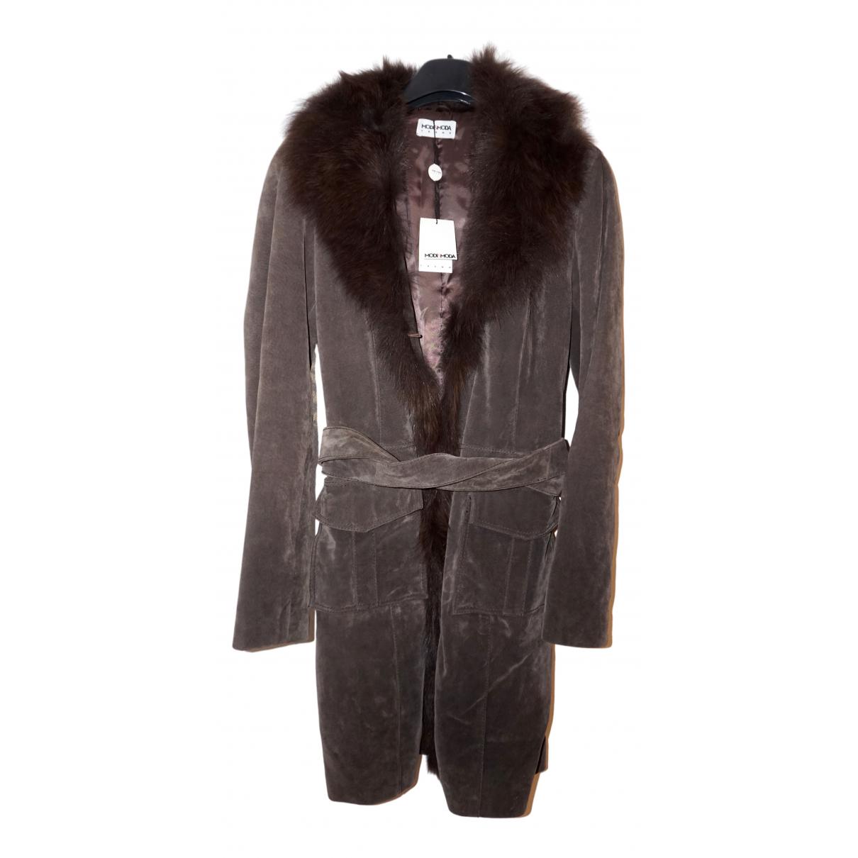 - Manteau   pour femme en fourrure - anthracite
