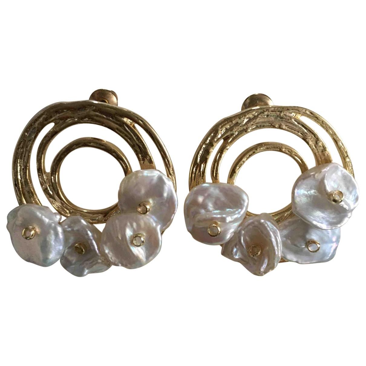 - Boucles doreilles Motifs Floraux pour femme en plaque or - blanc