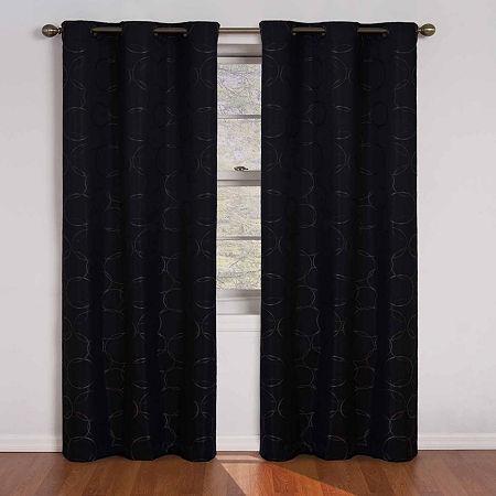 Eclipse Blackout Grommet-Top Single Curtain Panel, One Size , Black