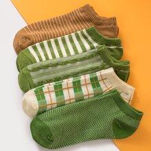 5pairs Plaid Pattern Socks