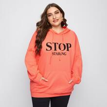 Plus Drop Shoulder Letter Graphic Hoodie
