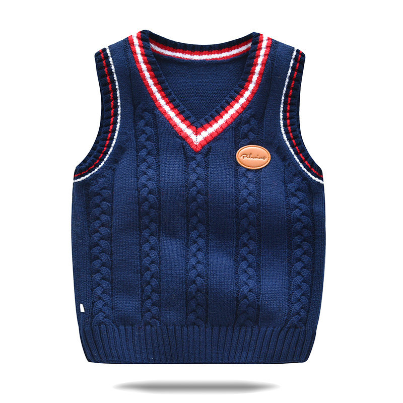 Toddler Girls and Boys Knit Waistcoat Sleeveless Casual Sweater For 2-9Y