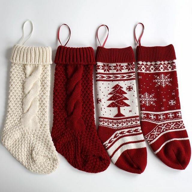 Hanging Ornaments Wool Snowflake Christmas Tree Decorative Socks Big Candy Bag Christmas Stockings