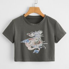 Dragon Graphic Crop Tee