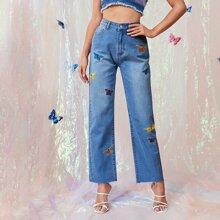 Jeans mit hoher Taille, Schmetterlingaermeln und geradem Beinschnitt