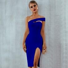 Adyce One Shoulder Split Thigh Dress