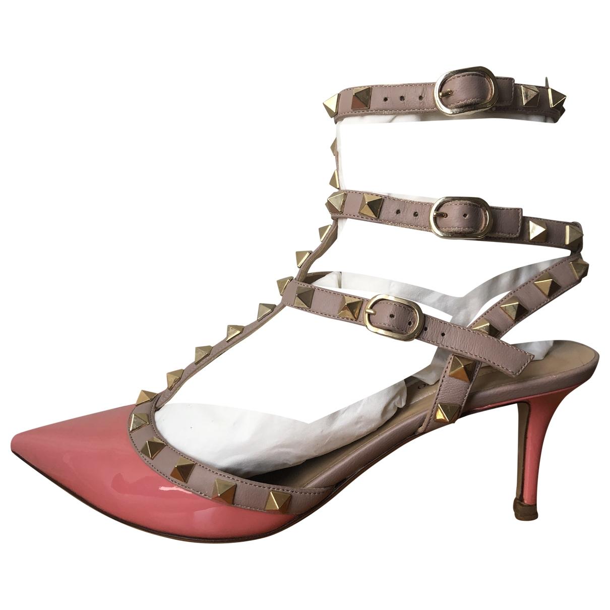 Valentino Garavani Rockstud Pink Patent leather Heels for Women 38 EU