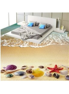 3D Pure Seawater and Colorful Sea Shell Pattern Waterproof Nonslip Self-Adhesive Floor Art Murals