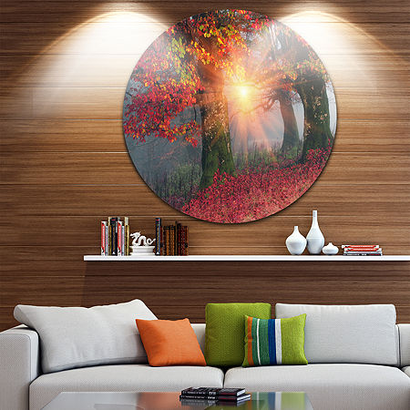 Design Art Yellow Sun in Red Autumn Forest Landscape Photography Circle Metal Wall Art, One Size , Yellow