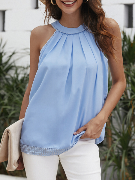 Yoins Blue Hollow Out Back Lace Detail Tank Top