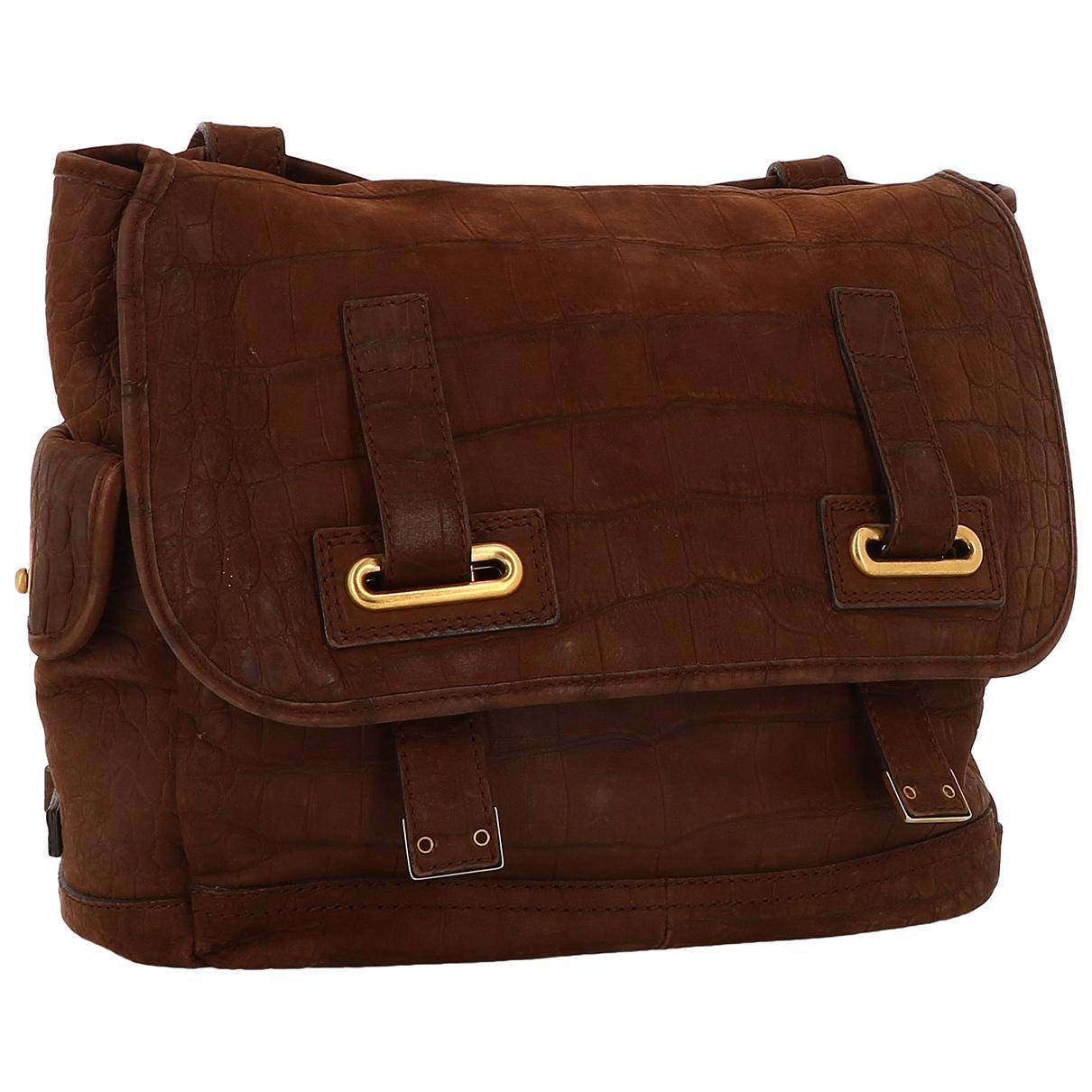 Yves Saint Laurent Messenger Burgundy Leather handbag for Women N