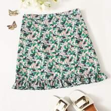 Ruffle Hem Allover Fruit Print Skirt