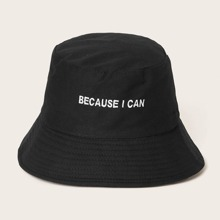 Slogan Embroidery Bucket Hat