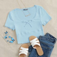 Knot Front Lace Trim Rib-knit Top