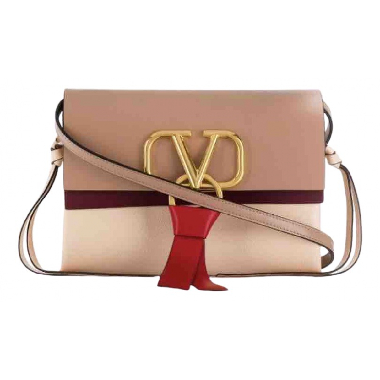 Valentino Garavani - Sac a main Vring pour femme en cuir - beige