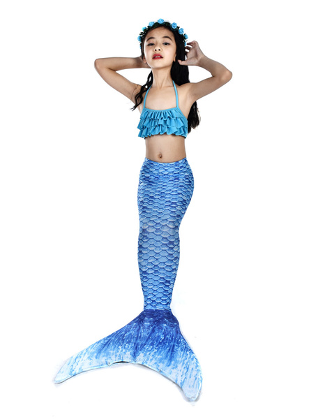 Milanoo Mermaid Costume Kids Fishtail Swimsuits 2 Piece Set Halloween