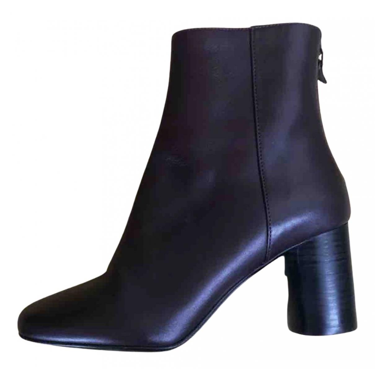 Sandro - Boots   pour femme en cuir - bordeaux