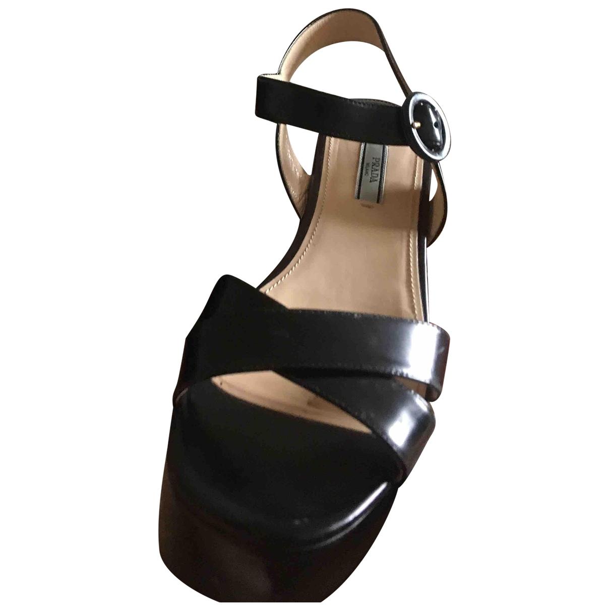 Prada \N Black Patent leather Sandals for Women 40 EU
