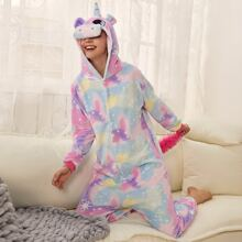 Tie Dye & Star Print Unicorn Plush Onesie