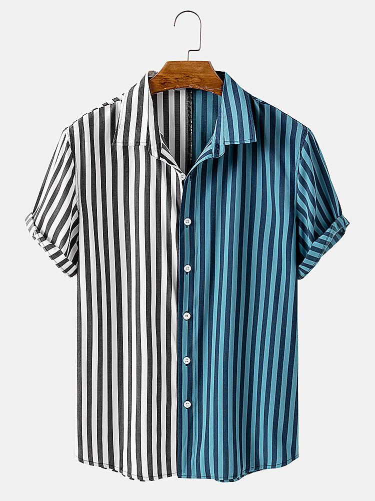 Men Cotton Stripe & Patchwork Beach Casual Shirt