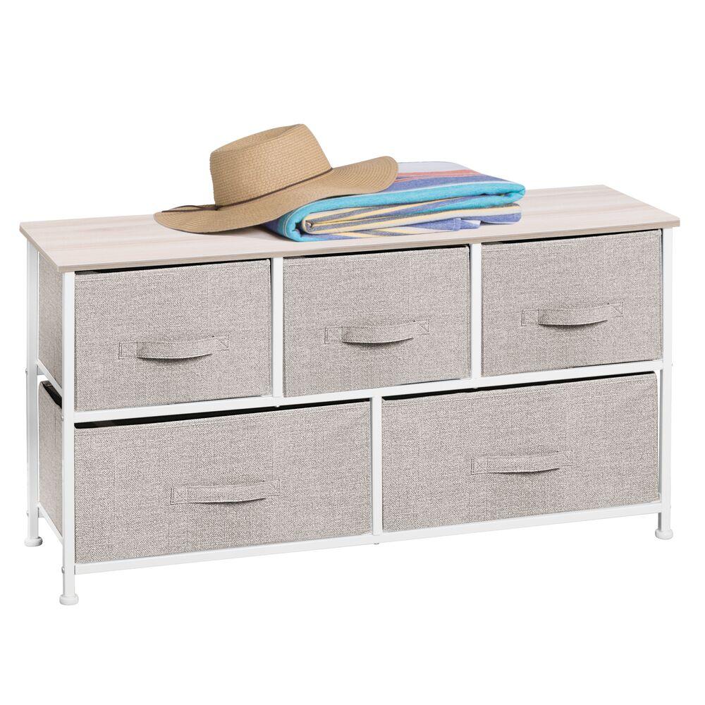 5 Drawer Wide Fabric Storage Dresser Organizer in Linen, 11.4