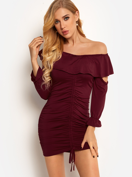 Yoins  Burgundy Red Backless Design Off Shoulder Pleated Cut Out Details Long Sleeves Dress