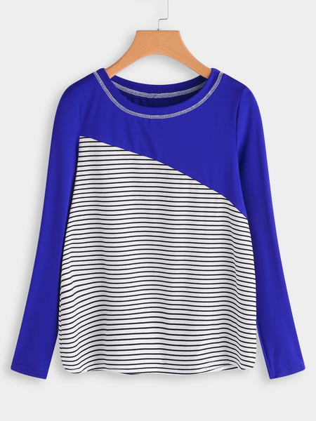 Yoins Blue Stitching Design Stripe Round Neck Long Sleeves T-shirt