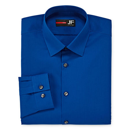 JF J.Ferrar Men's Stretch Easy-Care Long Sleeve Dress Shirt-Big & Tall, 17 38-39, Blue