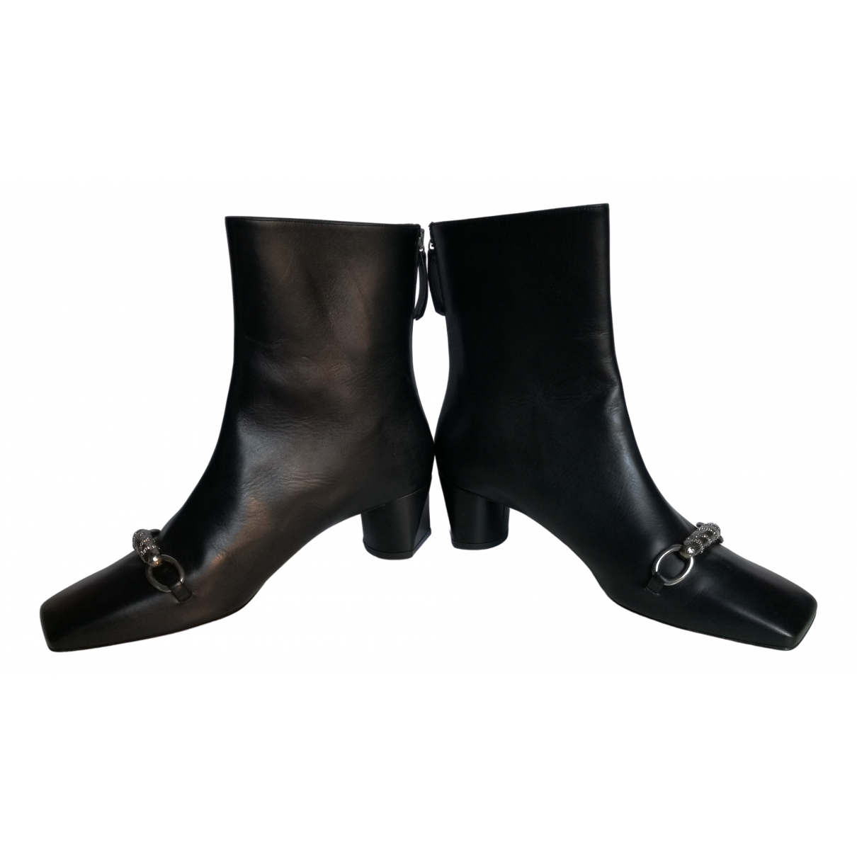 Roberto Cavalli \N Black Leather Ankle boots for Women 40 IT
