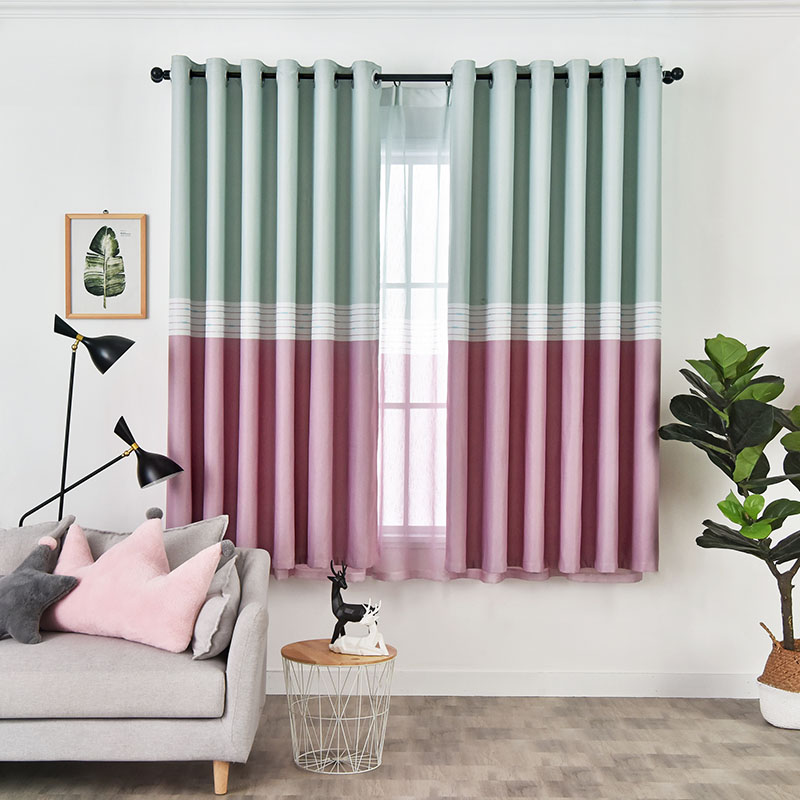 Modern Style Green and Pink Cloth and Voile Sewing 2 Panels Blackout Curtain Sets