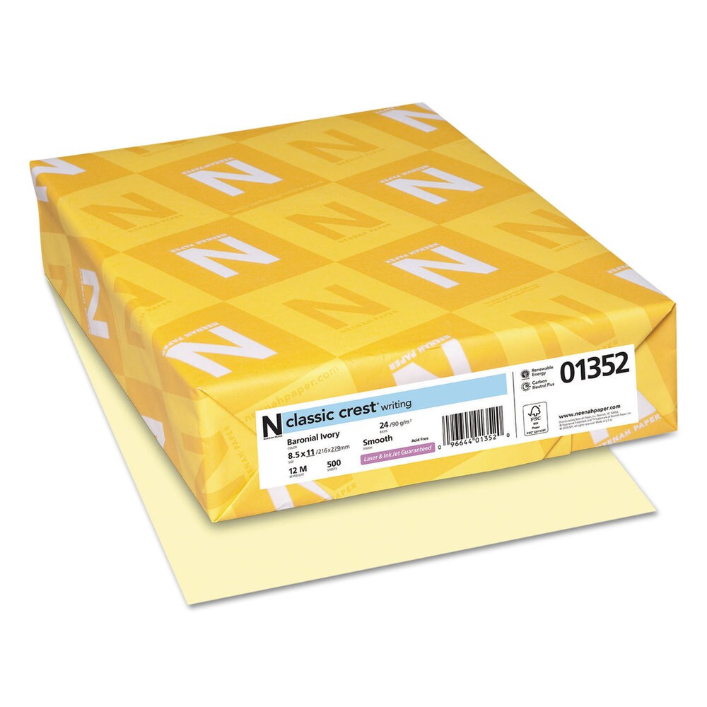 Neenah Paper CLASSIC CREST Writing Paper 24-pound 8 1/2 x 11 Baronial Ivory 500 Sheets (Baronial Ivory)