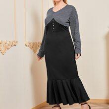 Vestidos Tallas Grandes Volante rigido Monocolor Negro Elegante