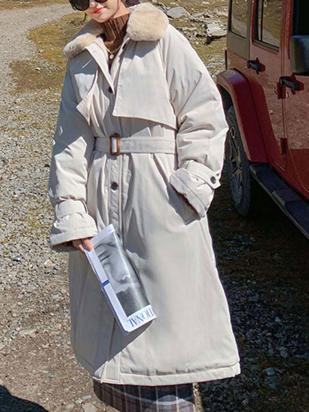Milanoo Woman\'s Outerwear Ecru White Turndown Collar Long Sleeves Pockets Casual Wrap Coat