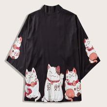 Guys Cartoon Graphic Kimono