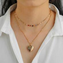 2pcs Gold Heart Charm Necklace