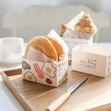 10 Stuecke Verpackungsbox fuer Brot mit zufaelligem Muster