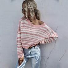 Drop Shoulder Stripe Crop Sweater