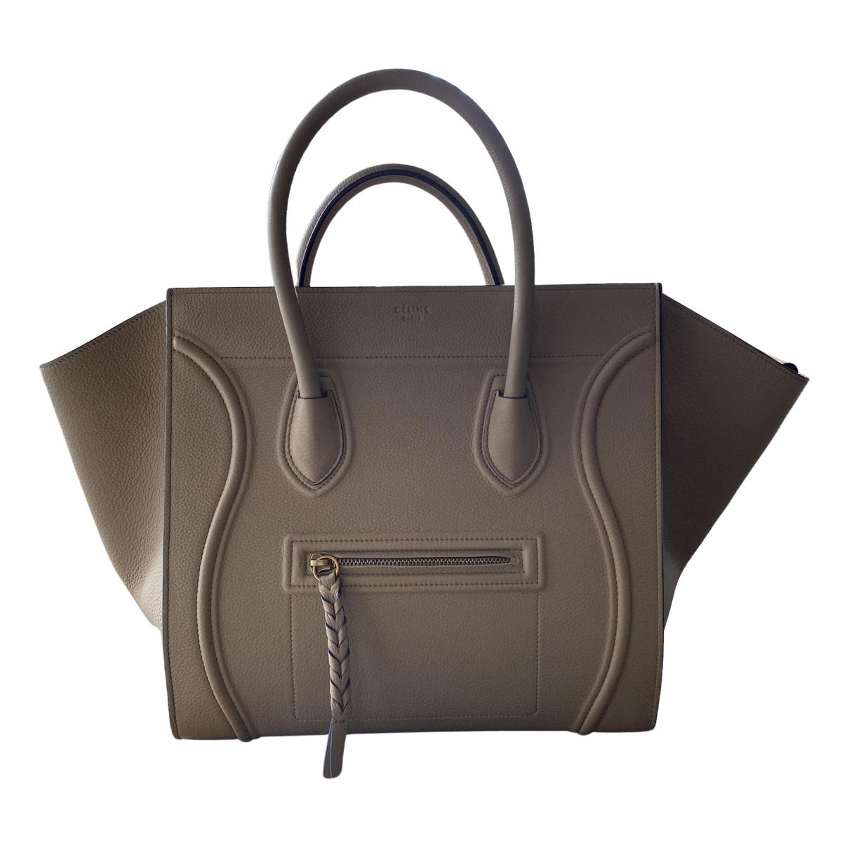 Celine - Sac a main Luggage Phantom pour femme en cuir - kaki