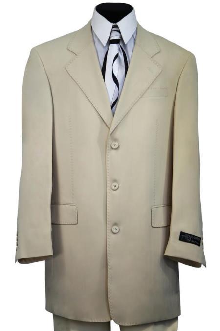 Mens Red Stitch Single Breast Notch Lapel Flap Pocket Cream Zoot Suit