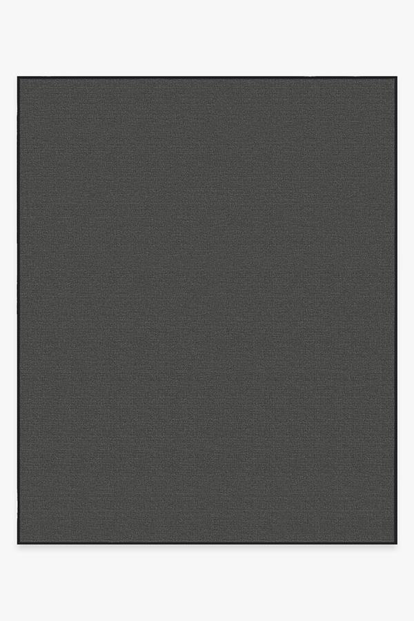 Washable Rug Cover & Pad   Outdoor Denim Solid Black Rug   Stain-Resistant   Ruggable   8'x10'