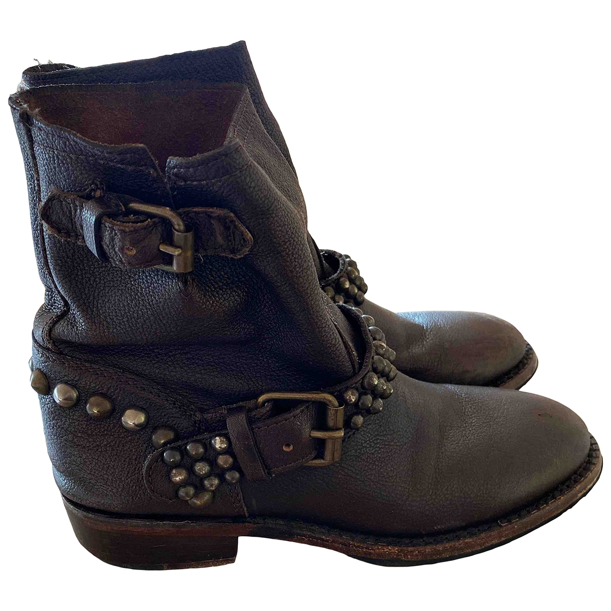 Non Signé / Unsigned \N Brown Leather Ankle boots for Women 37 IT