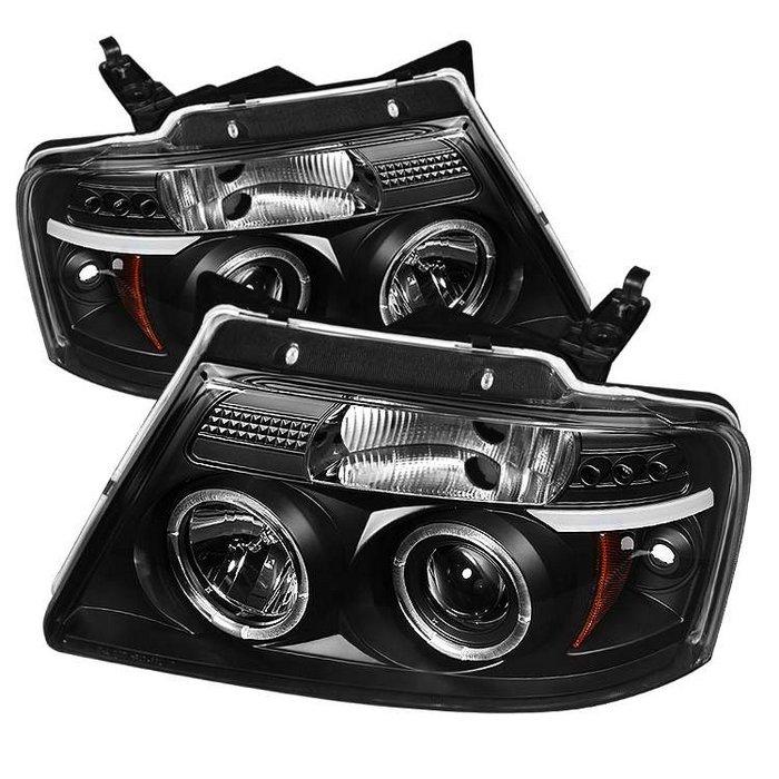 Spyder Version 2 Halo LED Black Projector HeadLights Ford F150 04-08
