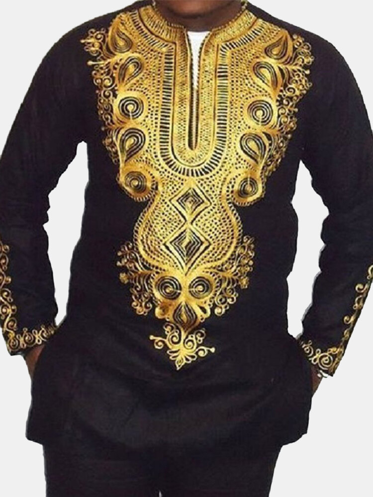 Mens African Ethnic Style Printed V-neck Long Sleeve Loose Casual T Shirts