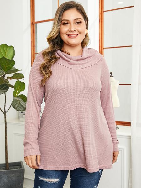 YOINS Plus Size Pink Turtleneck Long Sleeves Sweater