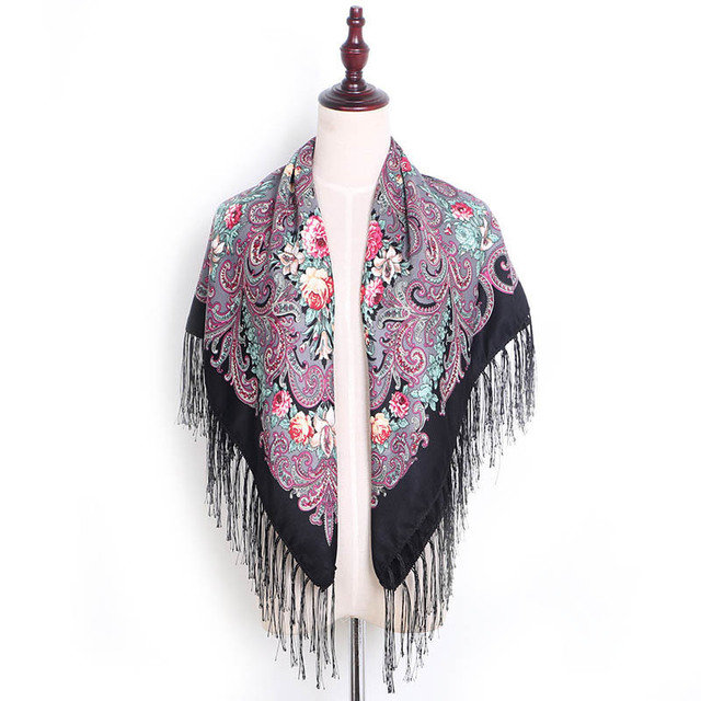 Cotton And Linen Printing Shawl Square Scarf Headscarf Tassel Scarf