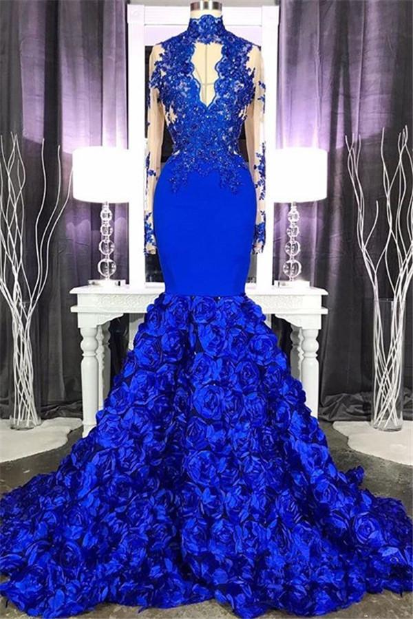 De manga larga de encaje apliques vestido de fiesta barato en linea 2021 | Sirena vestido de fiesta floral azul real con ojo de cerradura