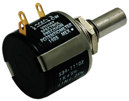 Vishay 1 Gang 3 Turn Rotary Wirewound Potentiometer with an 6.34 mm, 6.35 mm Dia. Shaft - 5kΩ, ±5%, 1W Power Rating,