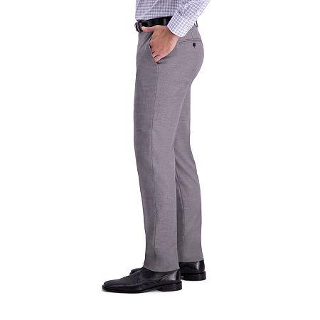 J.M Haggar Sharkskin Classic Fit Flat Front Dress Pant, 36 29, Silver